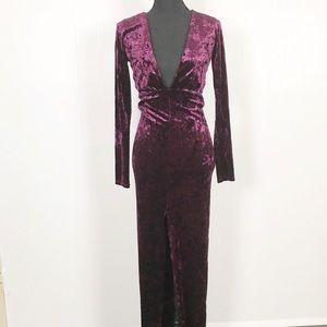 Forever 21 Deep V Neck Velvet Maxi Dress
